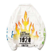 "Load image into Gallery viewer, ""LSTMINI"" FLAME PRINTED DENIM JACKET"