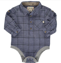 Baby woven Onesie Me & Henry Blue/Black plaid  (HB521s)