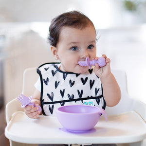 Bumkins Silicone First Feeding Set w/ Lid & Spoon - Lavender