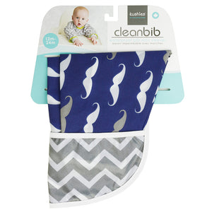 Cleanbib with Sleeves Navy Mustache