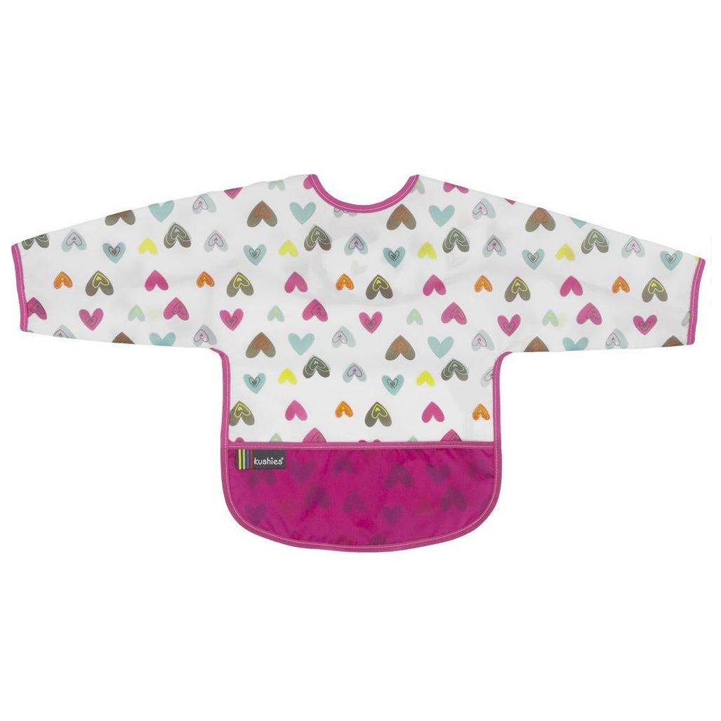 Cleanbib with Sleeves - White Doodle Hearts