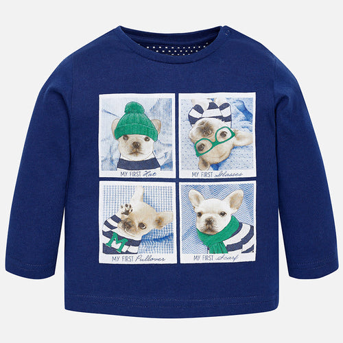 Baby Boy T-Shirt L/S Mayoral Frenchies Blue