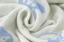 Double Face Knitted Blanket Lance & Joy Blue/Cream