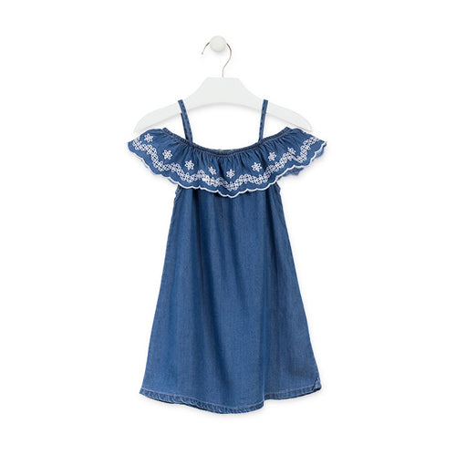 Dress - Losan Denim with Embroidered Ruffle