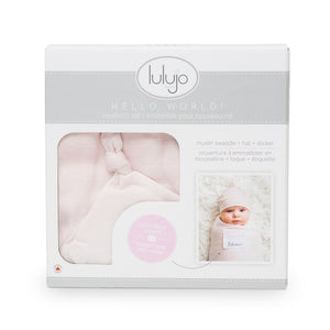 Lulujo Hello Word Blanket & Knotted Hat - Pink