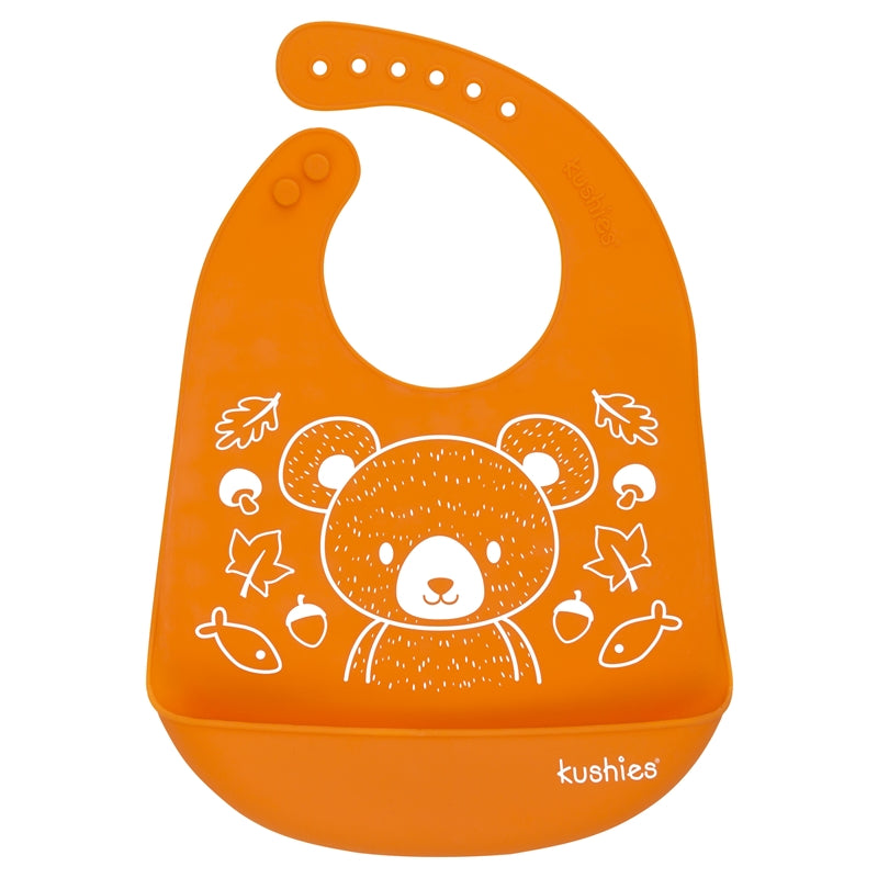 Silicatch Bib -  Orange Bear