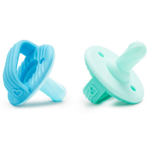 Sili-Soothe & Teethe™ Silicone Pacifier & Teether 2 Pack Blue/Aqua