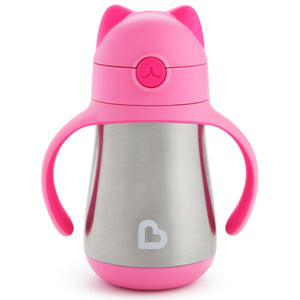 Cool Cat™ Stainless Steel Straw Cup 8oz Pink