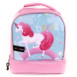"Dual Lunch Bag  9"" - Unicorn Blue & Pink"