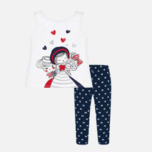 Set (2) - Mayoral Top & Leggings White/Navy 3022/3017