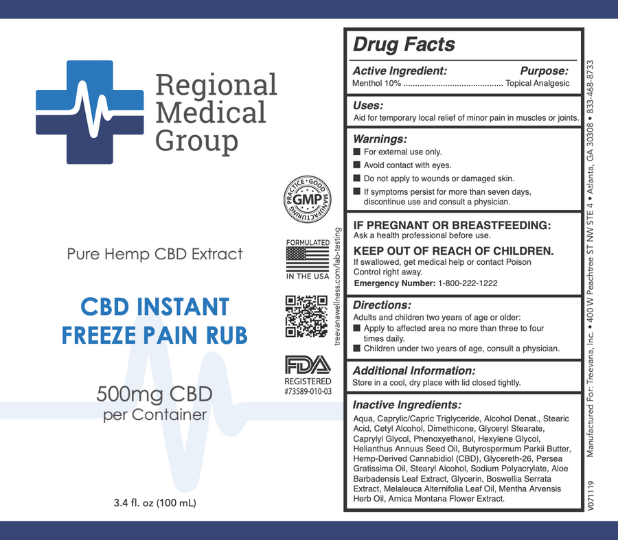 CBD Instant Freeze Pain Rub - 500mg