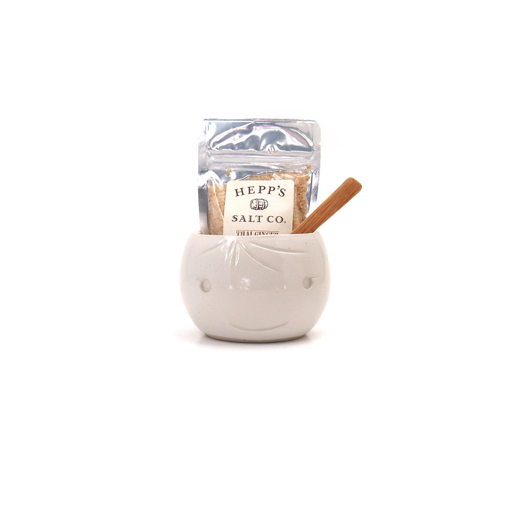 White Beastie Salt Pot w/Salt and Spoon Set