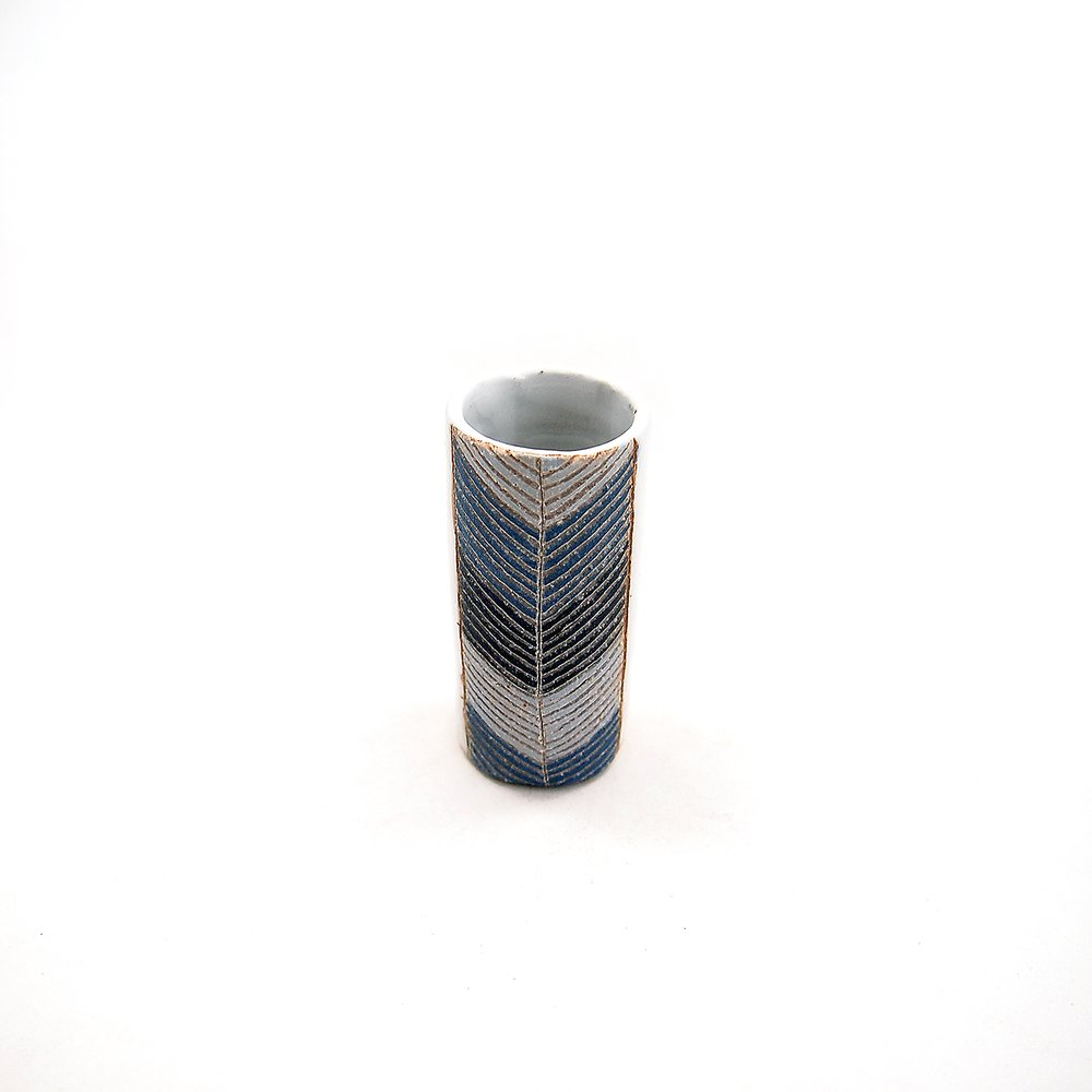 Tiny Blue Chevron Vase
