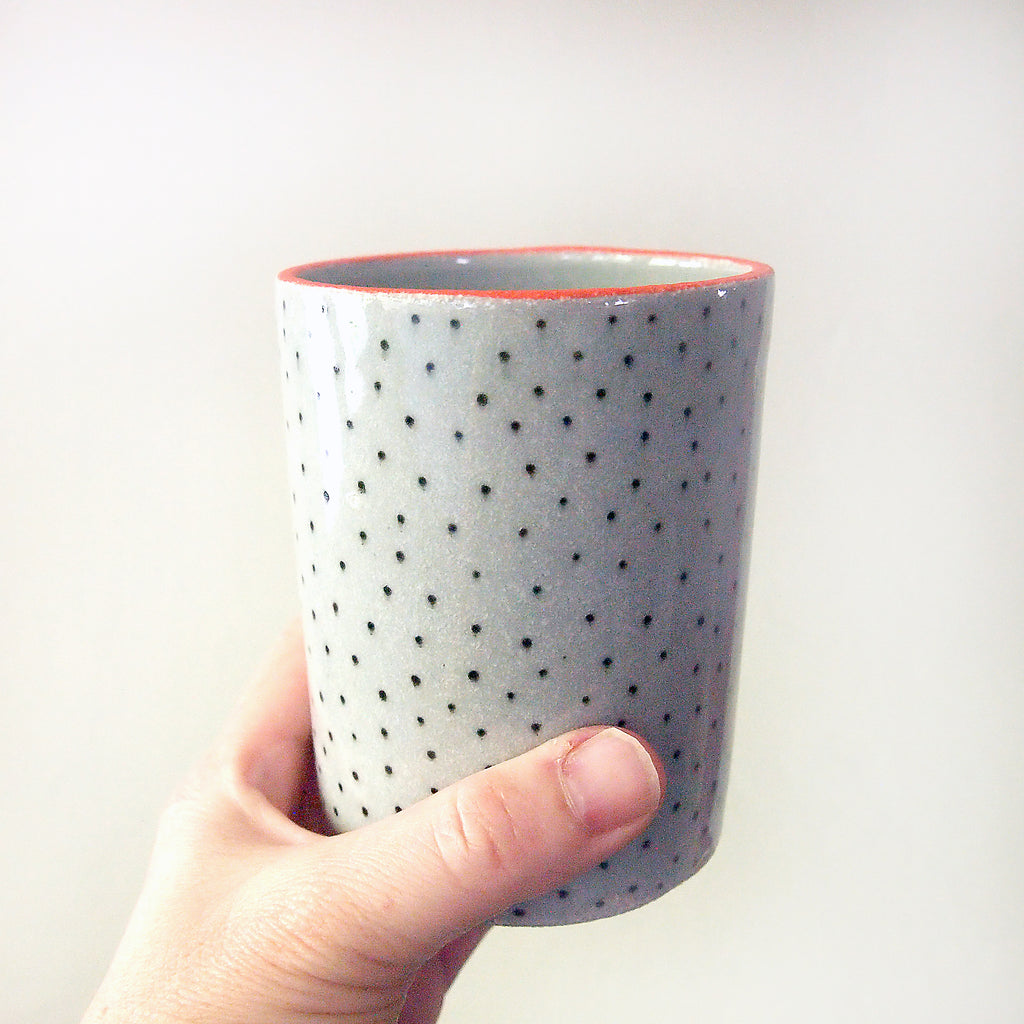 Orange Lipped Polka Dot Container