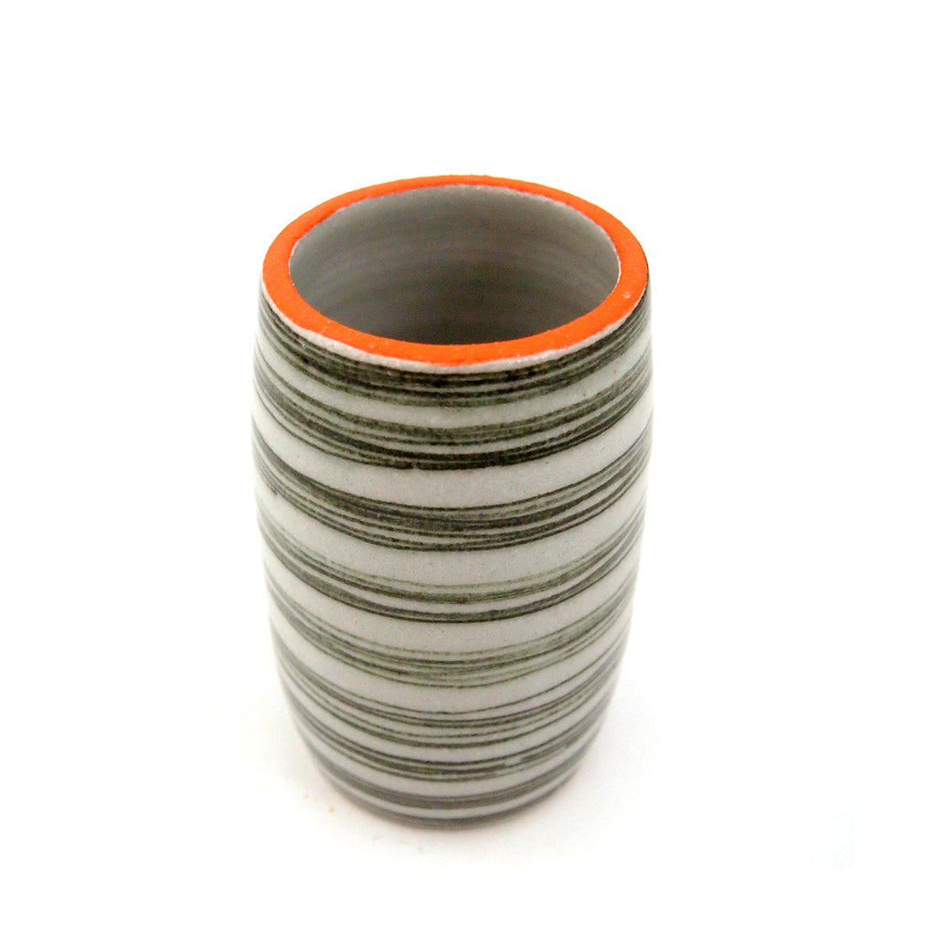 Orange Rimmed Black Lined Vase