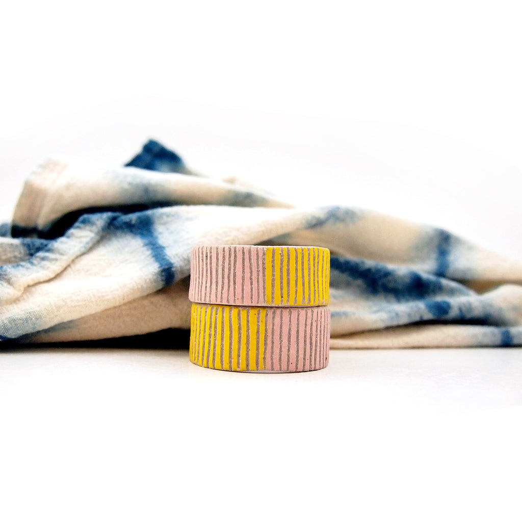 Napkin Set, Pink and Yellow