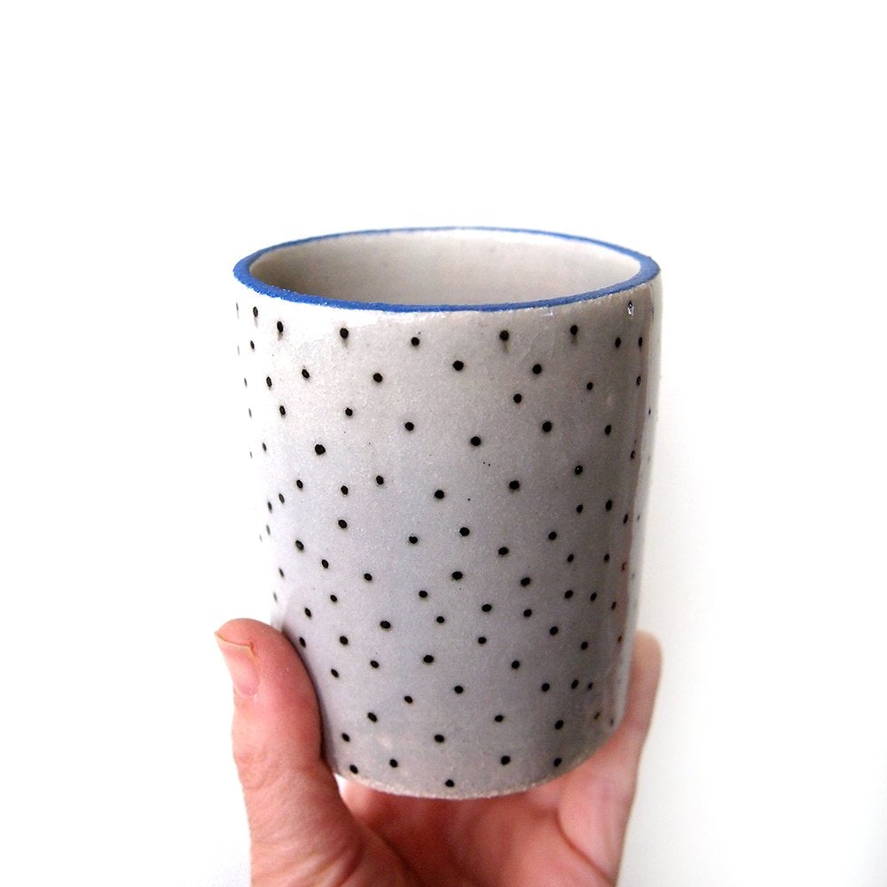 Polka Dot Blue Lipped Planter
