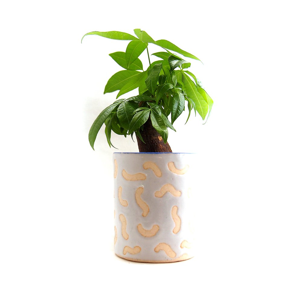 Squiggle Blue Lipped Vase/Planter/Container