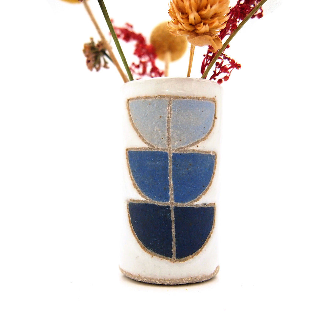 Blue Shell Stacks Bud Vase