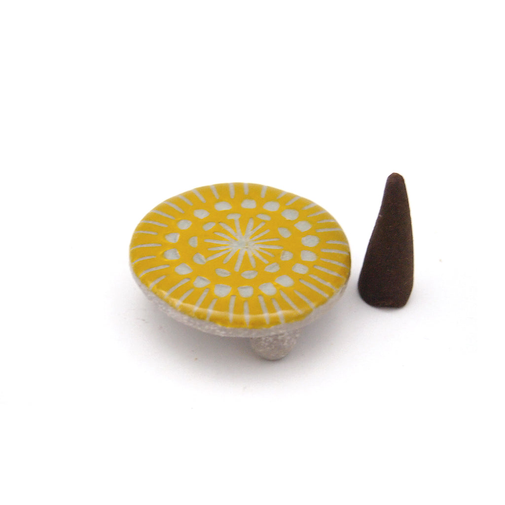 Yellow Cone Incense Stand, Single