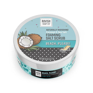 Beach Please Coconut and Sea Salt Foaming Salt Scrub Ravish Soap Company