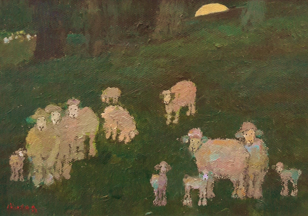 Malcolm Mason-sheep at the edge of the forest.
