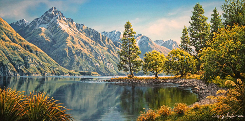 Dale Gallagher-Morning Calm, Lake Wakatipu with Walter Peak