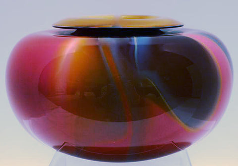 2400 Fahrenheit Art Glass Mirage Series Folded Lip Vase