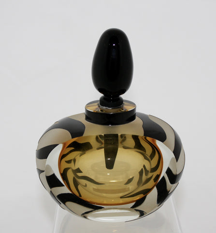 Correia Art Glass Amber and Black Tiger Perfume Bottle
