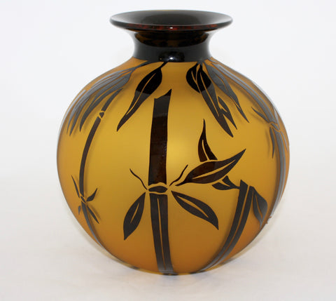 Correia Art Glass Amber Black Bamboo Vase