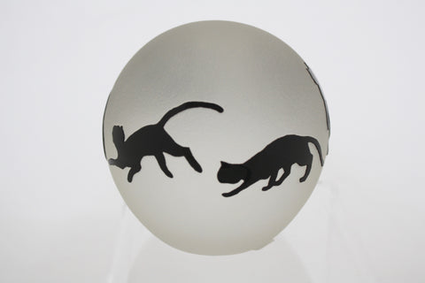 Correia Art Glass Etched Cat Paperweight