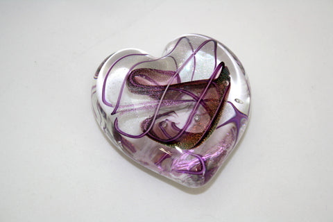 "Glass Eye Studio Hearts of Fire ""Amethyst"" Weight"