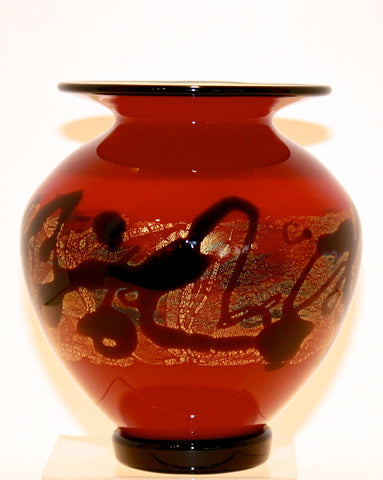 "Nourot Glass Studio ""Red Satin"" Lipfoot Vase"