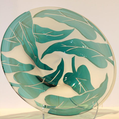 Correia Art Glass Teal/White Leaf Bowl