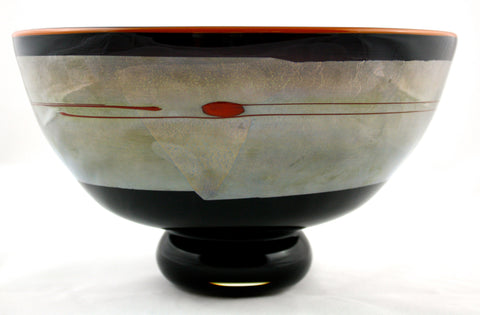Studio Paran Art Glass Black Enso Bowl