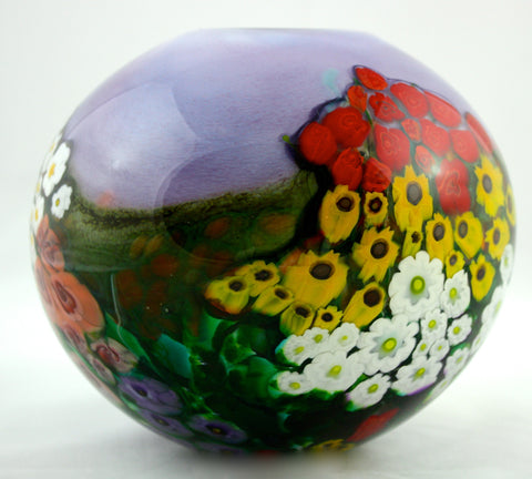 Shawn Messenger Fine Art Glass Landscape Series Round Lavender Vase