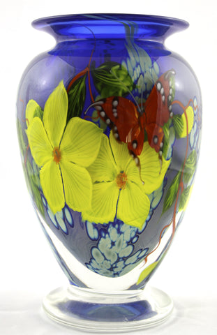 Mayauel Ward Art Glass Tropical Red Butterfly Vase