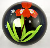 Mayauel Ward Art Glass  Red Iris Paperweight