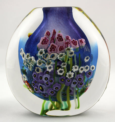 Shawn Messenger Fine Art Glass Blue/Lavender Flat Vase