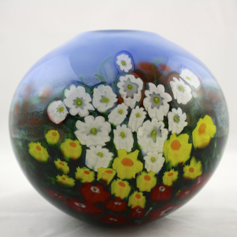 Shawn Messenger Fine Art Glass Landscape Series Round Blue Vase