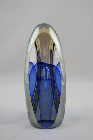 Edward Kachurik Art Glass Blue 3 Sided Sculpture
