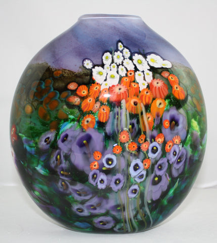 Shawn Messenger Fine Art Glass Flattened Vase