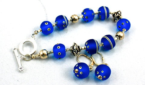 Cecillia Labora Studio Flamework Glass Jewelry Blue Bracelet