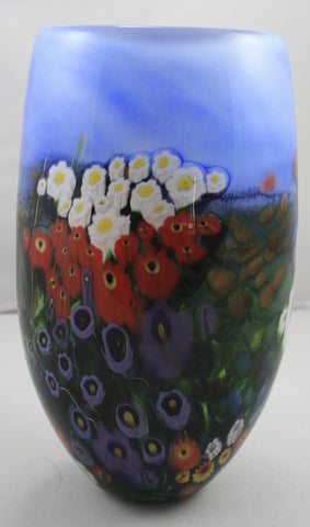 Shawn Messenger Fine Art Glass Landscape Series Large Blue Vase
