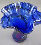 Glass Eye Studio Blue Rainbow Ruffle Vase