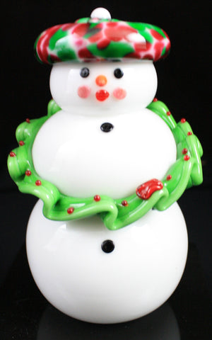 Vitrix Hot Glass Studio Female Wreath Snowman