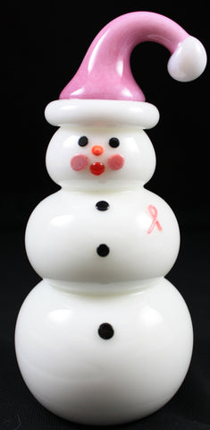 Vitrix Hot Glass Studio Breast Cancer Snowman