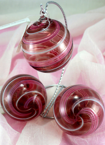 Glass Eye Studio Designer Ornaments Pink Stripe
