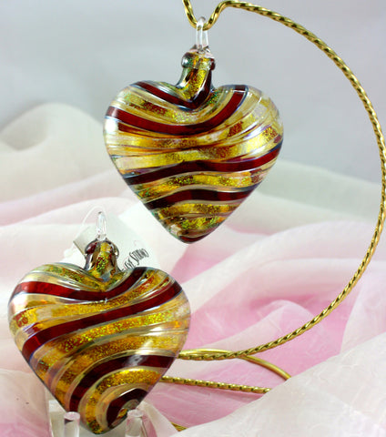 Glass Eye Studio Designer Red/Gold Twist Heart Ornament