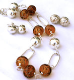 Cecillia Labora Studio Flamework Glass Jewelry Amber Necklace